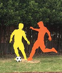 学校操场足球造型标识牌_人物造型标识牌_运动场标识牌